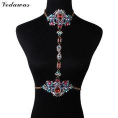 Bohomian Fashion Jewelry Multicolor Crystal Choker Maxi Necklace / Body Chain