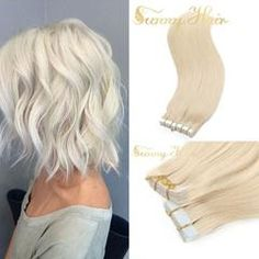 Tape in Lightest Blonde Human Hair Extensions - Hair Tutorials Beauty Hair Extensions, Hair Extensions For Short Hair, Blonde Extensions, Hair Lights, Short Hairstyles For Thick Hair, Short Hair Styles, Long Hair, Hair Extensions Before And After, Light Curls