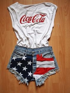 high-waisted Stars and Stripes shorts and a coca cola shirt