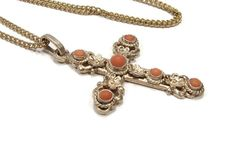 800 Silver Coral Cross Pendant Antique Jewelry Red Coral
