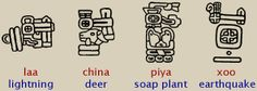 """Calendar Round, a 52-year cycle, interlocks the solar & sacred calendars. A yr is identified by the date in the sacred cal. that corresponds to the 1st day in the solar yr. Only 4 day signs in the piye can occur on the 1st day of the solar yr. These 4 day signs are """"year bearers"""". To distinguish Cal. Round yrs from days in the piye, a special glyph in the shape of a headdress is placed above the yr bearer. The 4 yr bearers= laa (lightning), china (deer), piya (soap plant), & xoo…"""