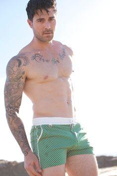Kyle Krieger in the Mr Turk Laguna Beach Bartlett Trunk Short #swimwear