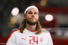 <a gi-track='captionPersonalityLinkClicked' href='/galleries/personality/5491088' ng-click='$event.stopPropagation()'>Mikkel Hansen</a> of Denmark looks on during the IHF Men's Handball World Championship group D match between Russia and Denmark at Lusail Multipurpose Hall on January 22, 2015 in Doha, Qatar.