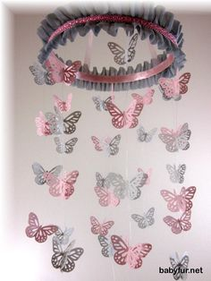 Pink and Grey Butterfly Mobile - Butterfly Room Deocr, Baby Nursery Mobile, Nursery Bedding, Baby Shower Gift, Wedding Mobile, Sabby Sheek - http://babyfur.net/pink-and-grey-butterfly-mobile-butterfly-room-deocr-baby-nursery-mobile-nursery-bedding-baby-shower-gift-wedding-mobile-sabby-sheek.html