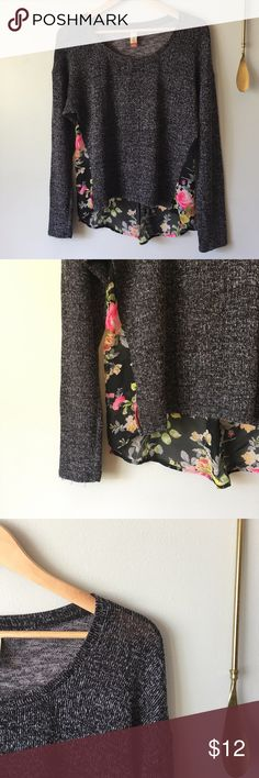 Dark Gray Sweater with Floral Sheer Bottom Dark gray & floral sweater//Materials: 59% rayon, 39% polyester, 2% spandex//Size: US Women's large Sweaters Crew & Scoop Necks