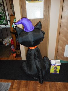 Gemmy Halloween Airblown Inflatable Black Cat 4ft Tall | eBay