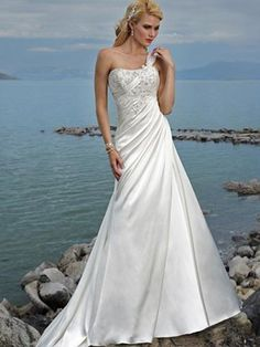 A-line One Shoulder Elastic Woven Satin Court Train Appliques Wedding Dresses at Millybridal.com