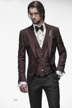 ONGala 1143 - Abito sposo con giacca jacquard rossa