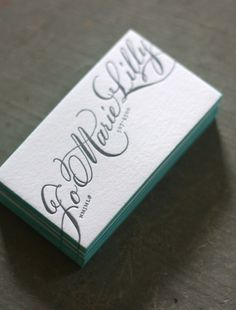 letterpress, calligraphy, white, colored edges - yes! business cards