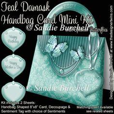 Teal Damask Handbag Card Mini Kit : The Designer Twins ...where creativity encounters quality and value