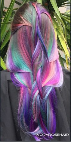 Purple electric dyed hair color