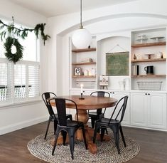table and chairs with rug. styled, built-in shelving Kitchen Dinning Room, Dining Room Table, Dining Rooms, Dining Chairs, Glam Living Room, Home And Living, Dining Room Inspiration, Home Upgrades, Decoration