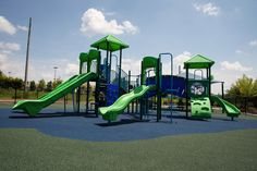 Child Care Playground Ideas! This 5-12 aged commercial playground features numerous slides, tons of climbers, and plenty of bridges to encourage physical development among the children in the organization's after school program.