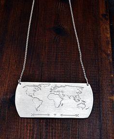 Travel Necklace / World Map Necklace / Globe Necklace by Bubblebox