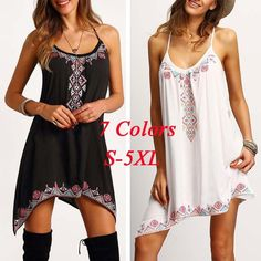 7 Colors Sleeveless Lace Up O-neck Floral Printed Women's Asymmetric Mini Dress (S-5XL)