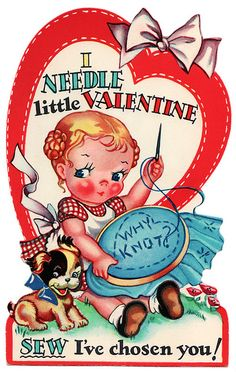 Valentines Day -- would be 'sew' cute with a little sewing kit attached.