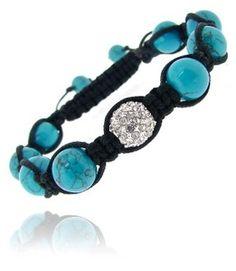 Crystal Fireball & Created Turquoise 10mm Adjustable Shamballa Bracelet
