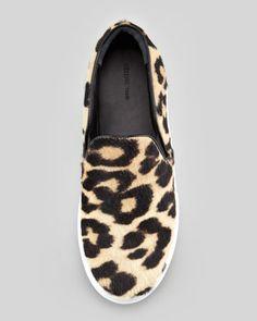Celine Leopard-Print Calf Hair Slip-On Sneaker