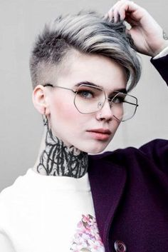 : The Fade Haircut Trend: Captivating Ideas for Men and Women : Short Side Parted Pixie With Fade Undercut Haircuts For Long Hair, Short Hairstyles For Women, Short Hair Cuts, Straight Hairstyles, Pompadour Hairstyle, Undercut Hairstyles, Cool Hairstyles, Undercut Girl, Androgynous Hair