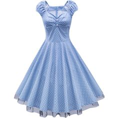 Exquisite Polka Dot Sweet Heart Patchwork Skater Dress (€32) ❤ liked on Polyvore featuring dresses, blue polka dot dress, polka dot dresses, spotted dress, sweetheart neckline skater dress and blue dress