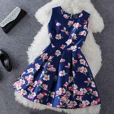 Plum printing blue sleeveless dress