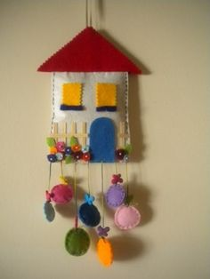 Felt house wall and door ornament .- Keçe ev duvar ve kapı süsü…. Felt house wall and door ornament …. Home Crafts, Diy And Crafts, Crafts For Kids, Arts And Crafts, Felt Christmas, Christmas Crafts, Christmas Houses, Visual Art Lessons, Craft Projects