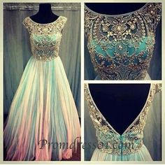 Light green beaded long prom dress, backless graduation dress, modest dress for teens, homecoming dress with top details -> sweetheartdress.s... #coniefox #2016prom