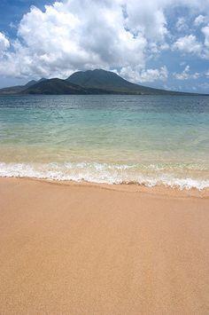 Nevis from Banana Bay Beach, St. Kitts #Caribbean