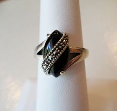 Sterling Silver 925 Stamped, NW Signed, Black Onyx and Marcasites Ring, Size 7…