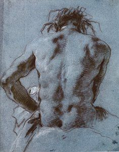 Tiepolo - Seated man seen from behind Human Body Drawing, Human Figure Drawing, Figure Sketching, Figure Drawing Reference, Guy Drawing, Life Drawing, Drawing People, Drawing Sketches, Art Drawings