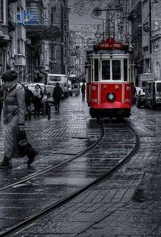 """tram"" by e photography Istanbul Turkey, Black White Photography Red, Black And Red Photography, Black And White City, Black And White Aesthetic, Black And White Pictures, Photo Black White, Black White Red, Splash Photography, City Photography, Black And White Photography, People Photography"