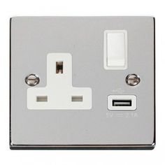 Click Deco Victorian Polished Chrome 1 Gang 13A Single Pole Switched Socket with White Insert and USB Outlet