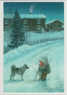 Norwegian Elkhound with his friend Noel Christmas, Scandinavian Christmas, Swedish Christmas, Christmas Illustration, Cute Illustration, Norwegian Elkhound, Baumgarten, Scandinavian Folk Art, Legends And Myths