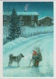 Norwegian Elkhound with his friend Noel Christmas, Scandinavian Christmas, Norwegian Elkhound, Baumgarten, Scandinavian Folk Art, Legends And Myths, Woodland Theme, Woodland Creatures, Fairy Land