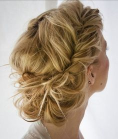 i love this.it's french fishtail braids the are kinda pulled apart (sorta) to make them messier looking.then put into a bun. Beautiful Hair and Makeup,Bridal Hair And Makeup,Hair,Hair & Beauty,Ha Chic Hairstyles, Popular Hairstyles, Pretty Hairstyles, Bridal Hairstyles, Style Hairstyle, Twisted Hairstyles, Hairstyle Ideas, Summer Hairstyles, Romantic Hairstyles