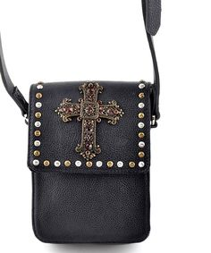 Love this Galaxy Belts Black Rhinestone Stud Leather Crossbody Bag by Galaxy Belts on #zulily! #zulilyfinds