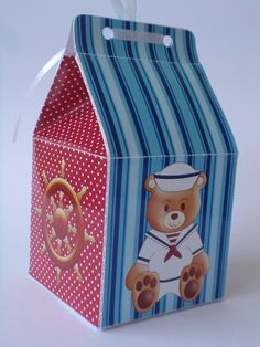 caixa marinheiro impresso em papel glossy 230g.    pedido mínimo: 10un  medidas: 6x6x11,5
