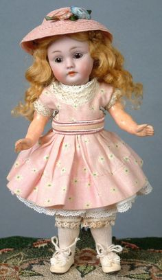 """8"""" Classic Cutie Kestner 143 Antique Doll on Her Original 7 Piece Body from kathylibratysantiques on Ruby Lane"""