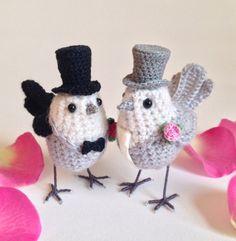Wedding cake topper dove-like love birds by FreshlyKnittedThings