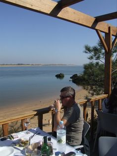 Looking out across the Guadiana river to Spain.Restaurant Dom Petisco