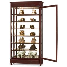 Rosewood Grand Curio Cabinet. With built-in halogen lights projecting museum quality display lightings, our beautiful curio cabinet is perfect for your treasured collectables. Six adjustable shelves and mirrored back inside. Curio display cabinet.