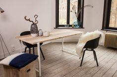 Nordic Living - PURE Wood Design Industriële tafel steigerhout zwevend blad/stalen frame