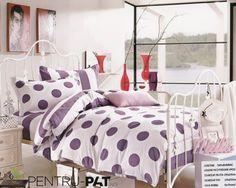 Lenjerie de pat bumbac Pucioasa cu buline si dungi mov Bed Sheets, Comforters, Blanket, Furniture, Home Decor, Creature Comforts, Homemade Home Decor, Blankets, Home Furnishings