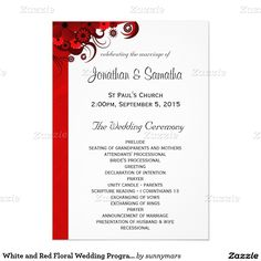 White and Red Floral Wedding Program Templates 5x7 Paper Invitation Card