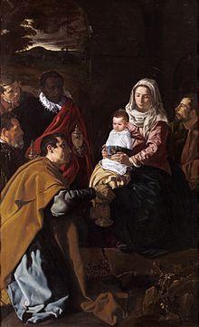 Diego Velázquez. Adoración de los Magos, 1619. Su familia: Niño Jesús, su hija Francisca. La Virgen, su esposa Juana Pacheco. Gaspar, el mismo pintor. Melchor, quizás su suegro. Museo del Prado.