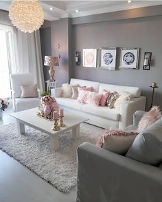 39 Beautiful Romantic Living Room Decor Ideas - Living-room is the most important and most spacious room at home, it welcomes guests, it reflects our way of life, so it should be exclusively maintai. Romantic Living Room, Glam Living Room, Living Room Decor Cozy, Bedroom Decor, Living Room Decorating Ideas, Living Room Goals, Living Room Neutral, Blush Pink Living Room, Wall Decor