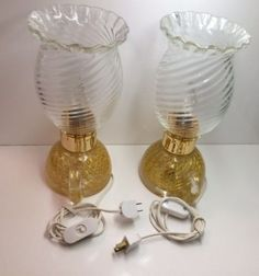 2 Rare Collectible Signed Contemporary Ars Cenedese Murano Italian Glass Table Lamps