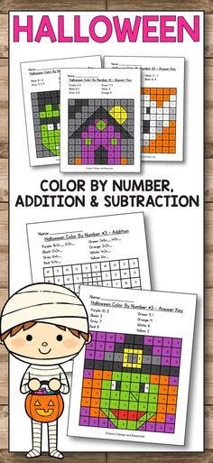 Halloween activities for preschool, kindergarten and first grade kids. Your students will have so much fun solving these mystery picture puzzles while practicing their math skills. These worksheets are common core align perfectly for early finishers or morning work. These Math Worksheets is a no prep pack packed full of worksheets and printables to help reinforce math skills in a fun way. #Halloween #preschool #kindergarten #firstgrade #worksheets #printables #math