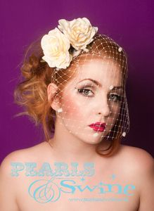 "Image of ""Luminescence"" Rose Birdcage Veil Veiled Fascinator Valentine Rose  Wedding Hair Accessory Uk"