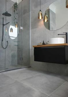 carrelage imitation béton, salle de bain design moderne
